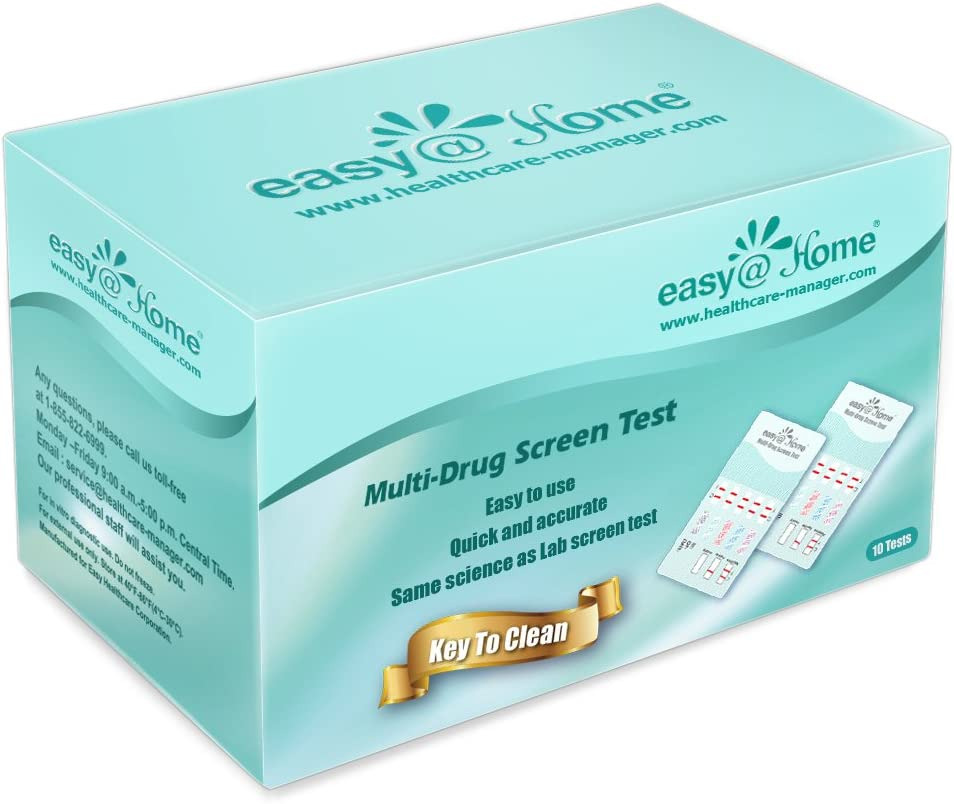 10 Pack Easy@Home 5 Panel Instant Drug Test Kits - Testing Marijuana (THC), COC, OPI 2000, AMP, MET/mAMP- Urine Dip Drug Testing -#EDOAP-254