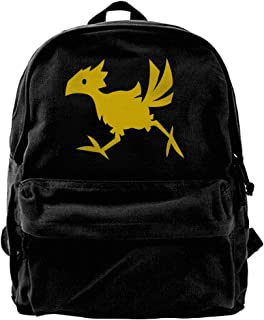 Kotdeqay Chocobo Crossing Canvas Backpack Casual Computer College Bag Daypack for Travel, Hiking, Camping