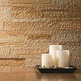 Aspect Peel and Stick Stone Overlay Kitchen Backsplash - Golden Sandstone (5.9'' x 23.6'' x 1/8'' Panel - approx. 1 sq ft) - Easy DIY Tile Backsplash