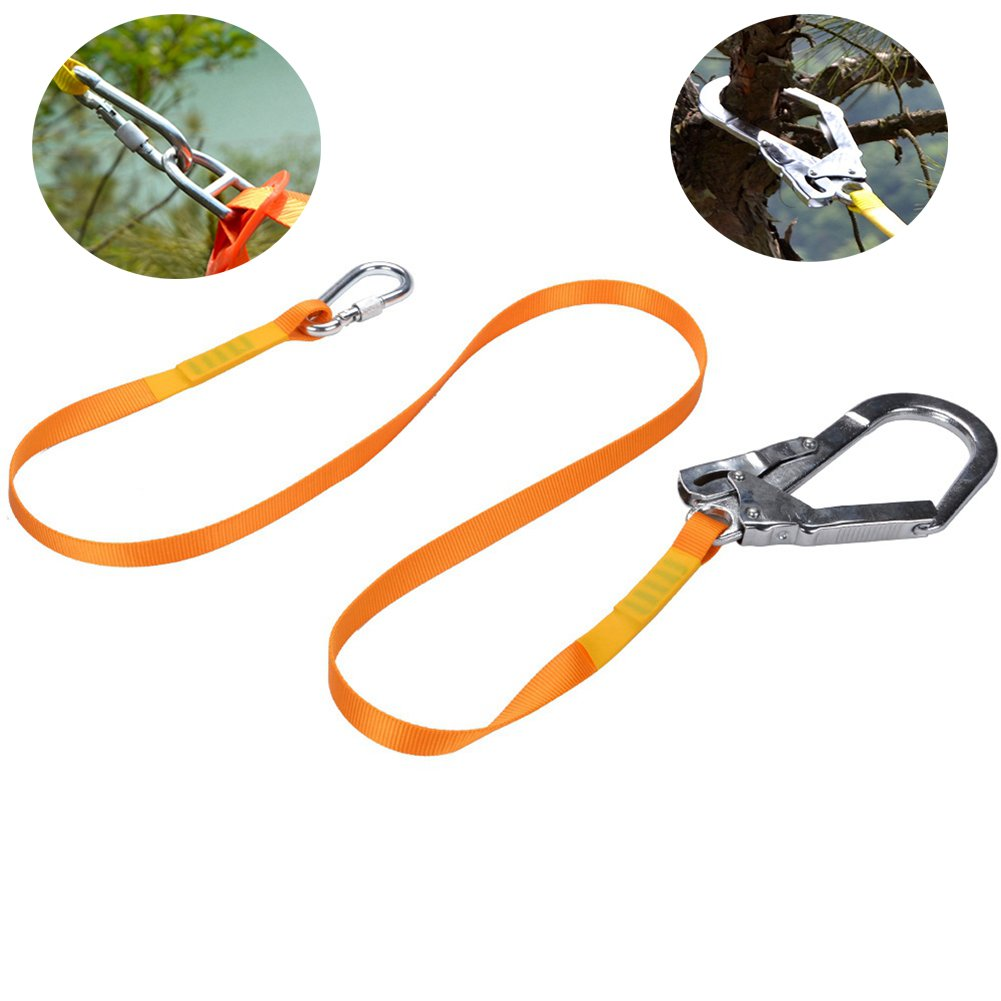 Safety Lanyard, Dometool Polyester Outdoor Climbing Lanyard Slings Protective Safety Protective Seat Belt Hook with Alloy Steel Buckle,Carabiner
