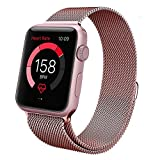 Teslasz Apple Watch Band, 38mm Mesh Replacement Strap Stainless Steel Milanese Loop Strap Magnetic Buckle Wrist Band for Apple iWatch All Models – Rose