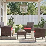 Homall 4 Pieces Outdoor Patio Furniture Sets Rattan