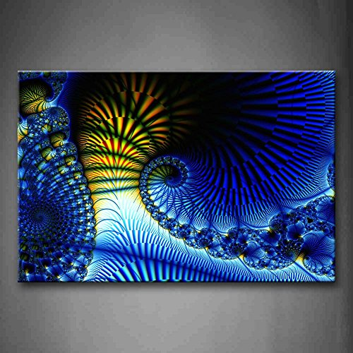 First Wall Art - Fractal Blue Yellow Spirals Wall Art Painting The Picture Print On Canvas Abstract Pictures For Home Decor Decoration (Abstract Spiral Wall Art)