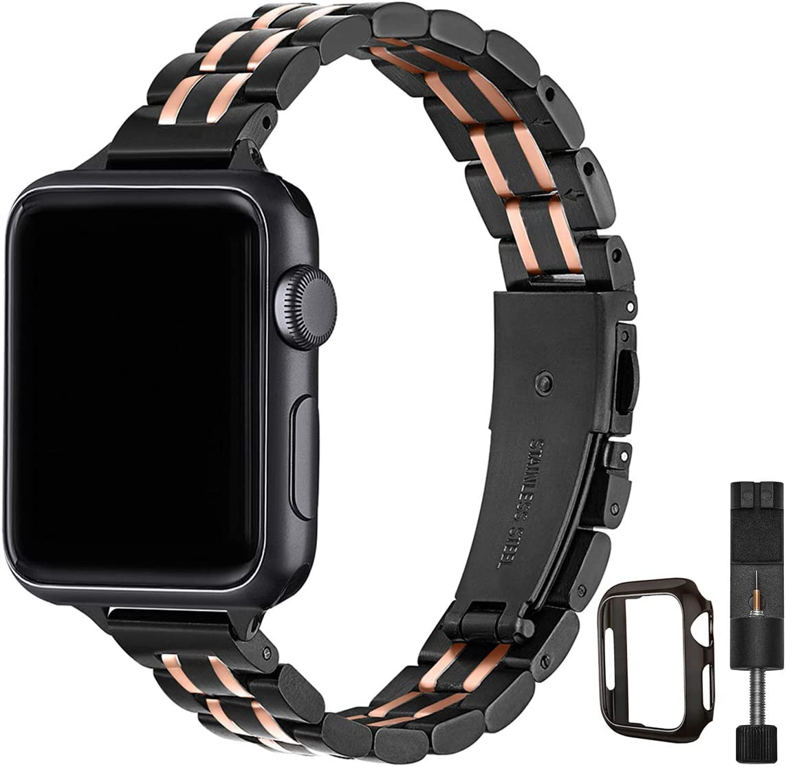 STIROLL Thin Replacement Band Compatible for Apple Watch 38mm 40mm 42mm 44mm, Stainless Steel Metal Wristband Women Men for iWatch SE Series 6/5/4/3/2/1 (Black+Rose Gold, 38mm/40mm)