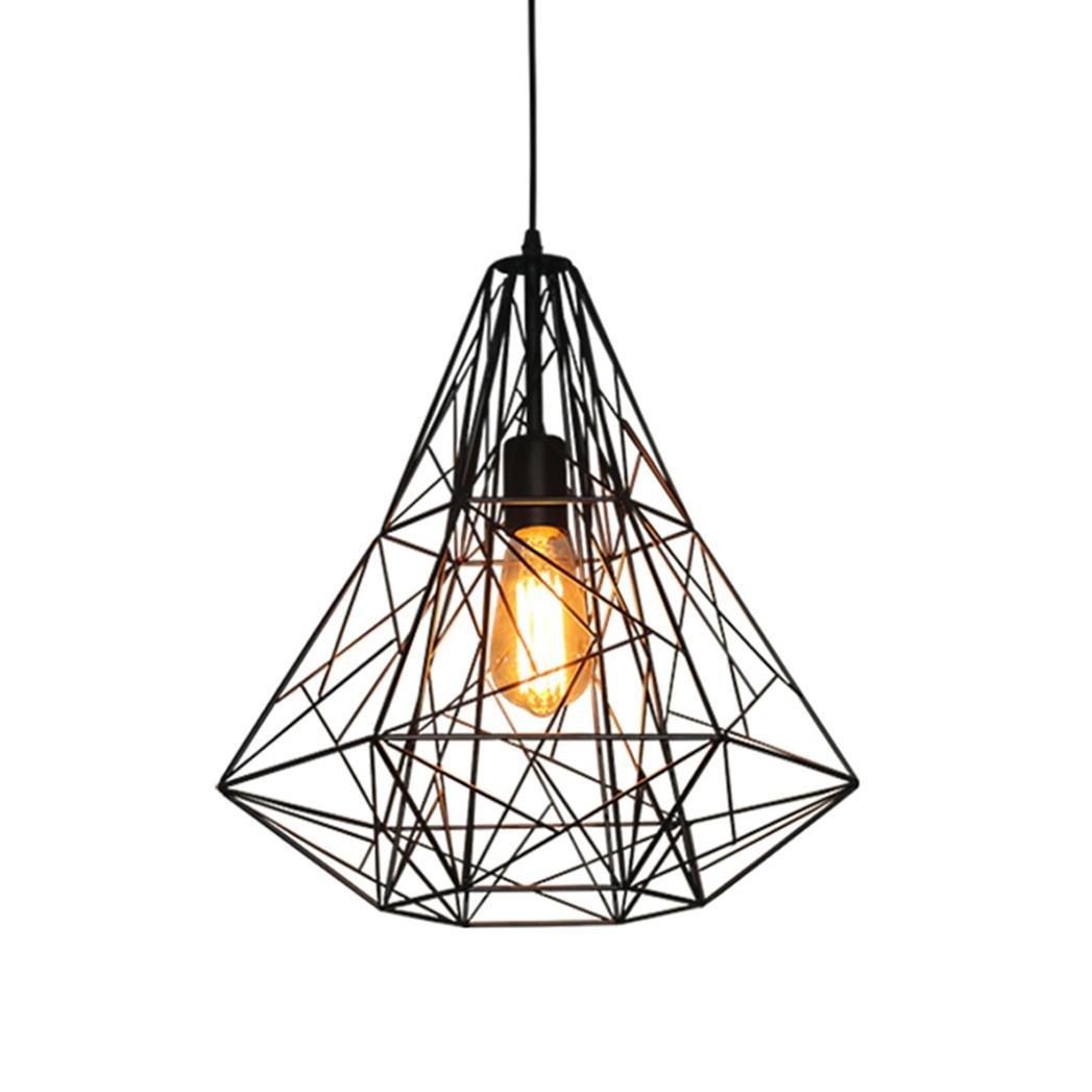 AOKARLIA Retro Pendelleuchte Beleuchtung Leuchter, Kreativ Eisenkäfig Hängeleuchten Befestigung Für Wohnzimmer Speisesaal Kaffee Bar [Glühbirnen Nicht Inbegriffen], C-schwarz
