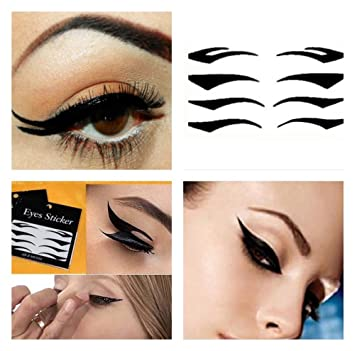4 Pairs Temporary Black Eyeliner Tattoo Transfers Cat Eyes Sexy Make