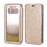ZCDAYE Samsung Galaxy S7 Edge Case,Luxury Glitter Flowing Liquid Mirror Makeup Case PU Leather Floating Quicksand Soft TPU Rubber Silicone Protective Flip Cover for Samsung Galaxy S7 Edge - Gold