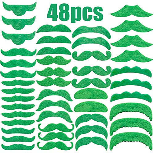(Green Mustaches Beard,Fake Mustaches Self Adhesive Costume Novelty Mustaches for St Patrick's)