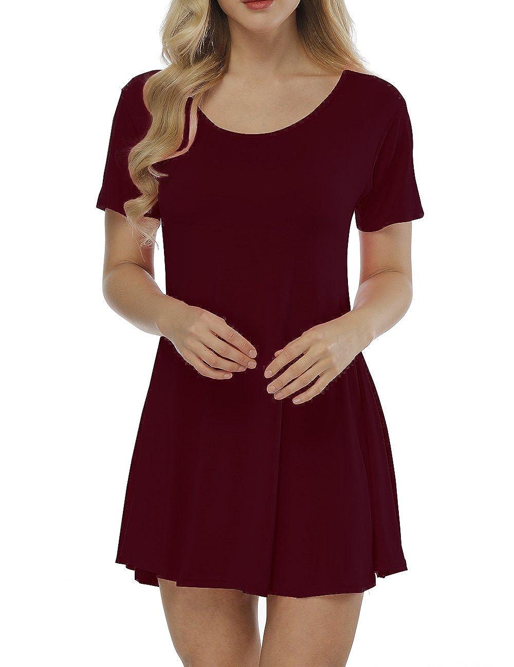 Haola Women Tunic Tops Summer Casual Loose Short Sleeve Plain Flowy