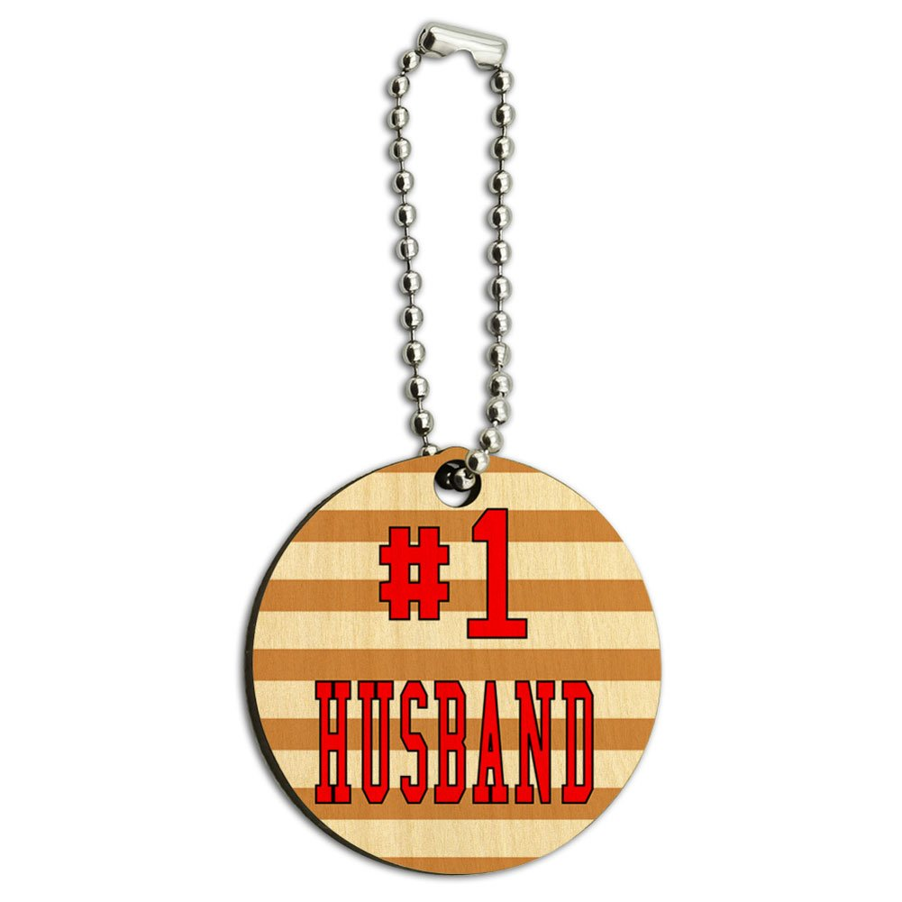 #1 Husband Number One Favorite Love Wood Wooden Round Key Chain