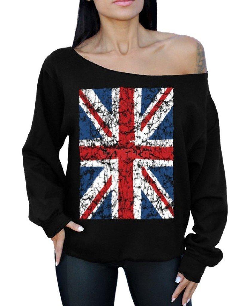 Awkward Styles Awkwardstyles Union Jack Flag Off The Shoulder Oversized Sweater British Flag M Black