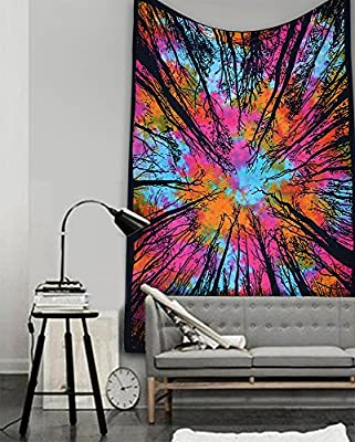 Popular Handicrafts Tree Of Life Tie Dye Bohemian Psychedelic Intricate Floral Design Indian Bedspread Tapestry 54x84 Inches,(140cmsx215cms)