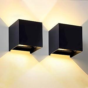 LANFU 2pack LED Aluminum Waterproof Wall Lamp, Waterproof Modern Outdoor Light 6W 100-277V 2700K Angle-Adjustment Outdoor Wall Light Warm Light 2LEDS(3.94