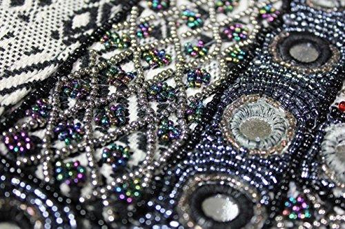 FERETI Borse a tracolla ricamo Tessuto Nera di perline policromo bicolore multicolore