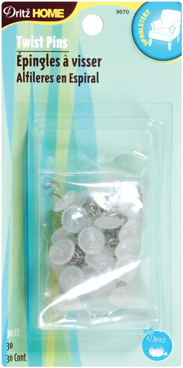 Dritz 9070 Upholstery Clear Heads Twist Pins, 3/4-Inch, 30-Pack Prym Consumer USA