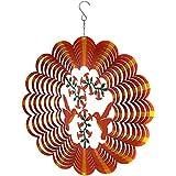 Sunnydaze Reflective 3D Whirligig Orange Hummingbird Wind Spinner with Hook, 12-Inch
