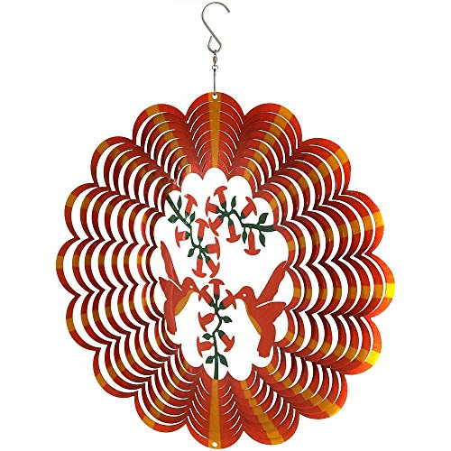 Sunnydaze Reflective 3D Whirligig Orange Hummingbird Wind Spinner with Hook, 12-Inch - Metal Whirligigs