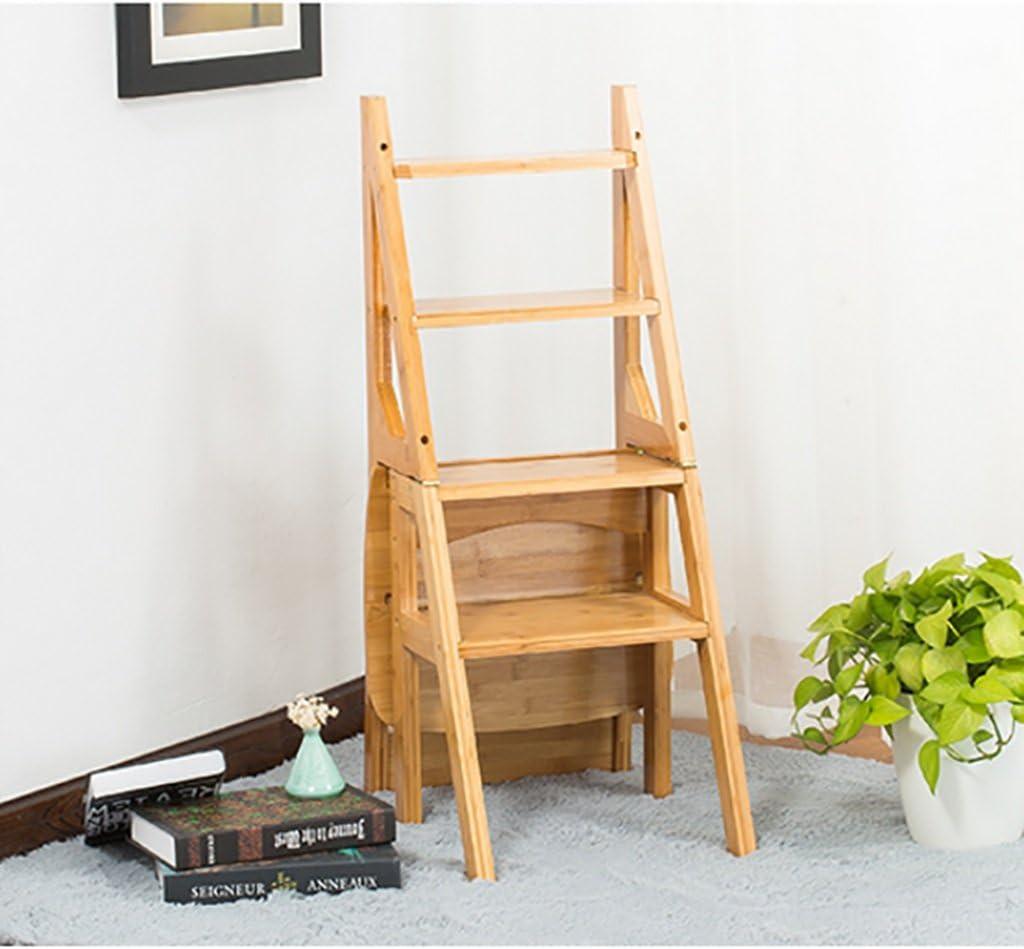 Taburete de madera maciza / Taburete alto de 4 escalones Taburetes altos de madera maciza de doble uso Escalera plegable Taburete / taburete para el hogar Escaleras pequeñas de madera Taburete de