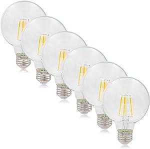Maxxima G25 LED Light Bulb Globe Filament Bulb, 40 Watt Equal, 500 Lumens 2700K Warm White (6 Pack)
