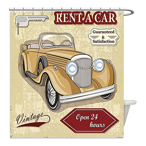 [Liguo88 Custom Waterproof Bathroom Shower Curtain Polyester Decor Vintage Car Rentals Commercial Illustration Print with Keys Original Dated Auto Objects Design Decor Tan Red Decorative bathroom] (Victorian Costumes Rental)
