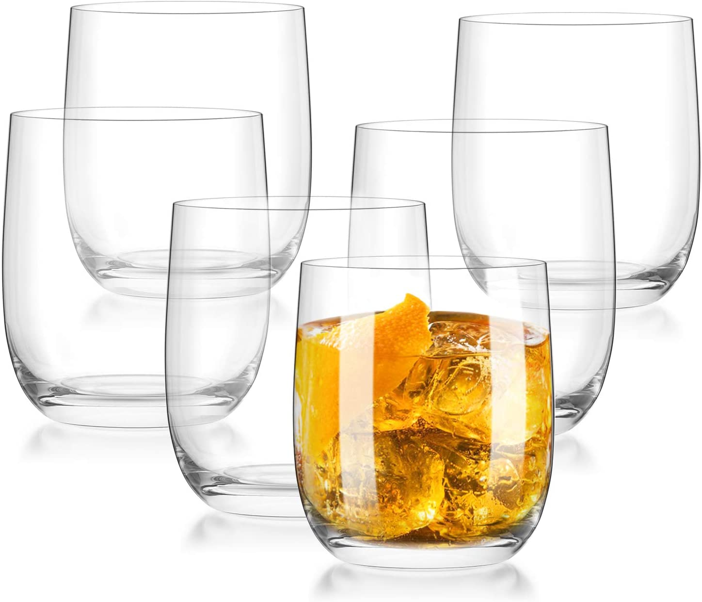 CREATIVELAND Crystal Tumbler Glasses Set of 6 LEAD-FREE CRYSTAL GLASSES, Brilliant clarity, Thin Rim, Whiskey glass, Cocktails glasses,Drinking cups,Old fashion glasses,Rocks Glasses 13.9oz/395ML
