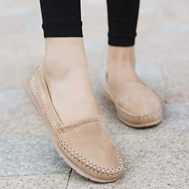b802318d7b5 Amazon.com  AliveGOT Women s Faux Suede Loafers Casual Round Toe Moccasins  Wild Flats Shoes  Clothing