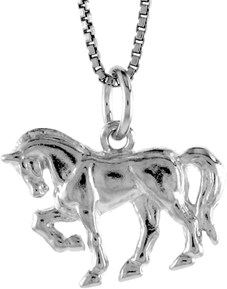 1 1//2 inch Tall Sterling Silver Large Horseshoe Pendant