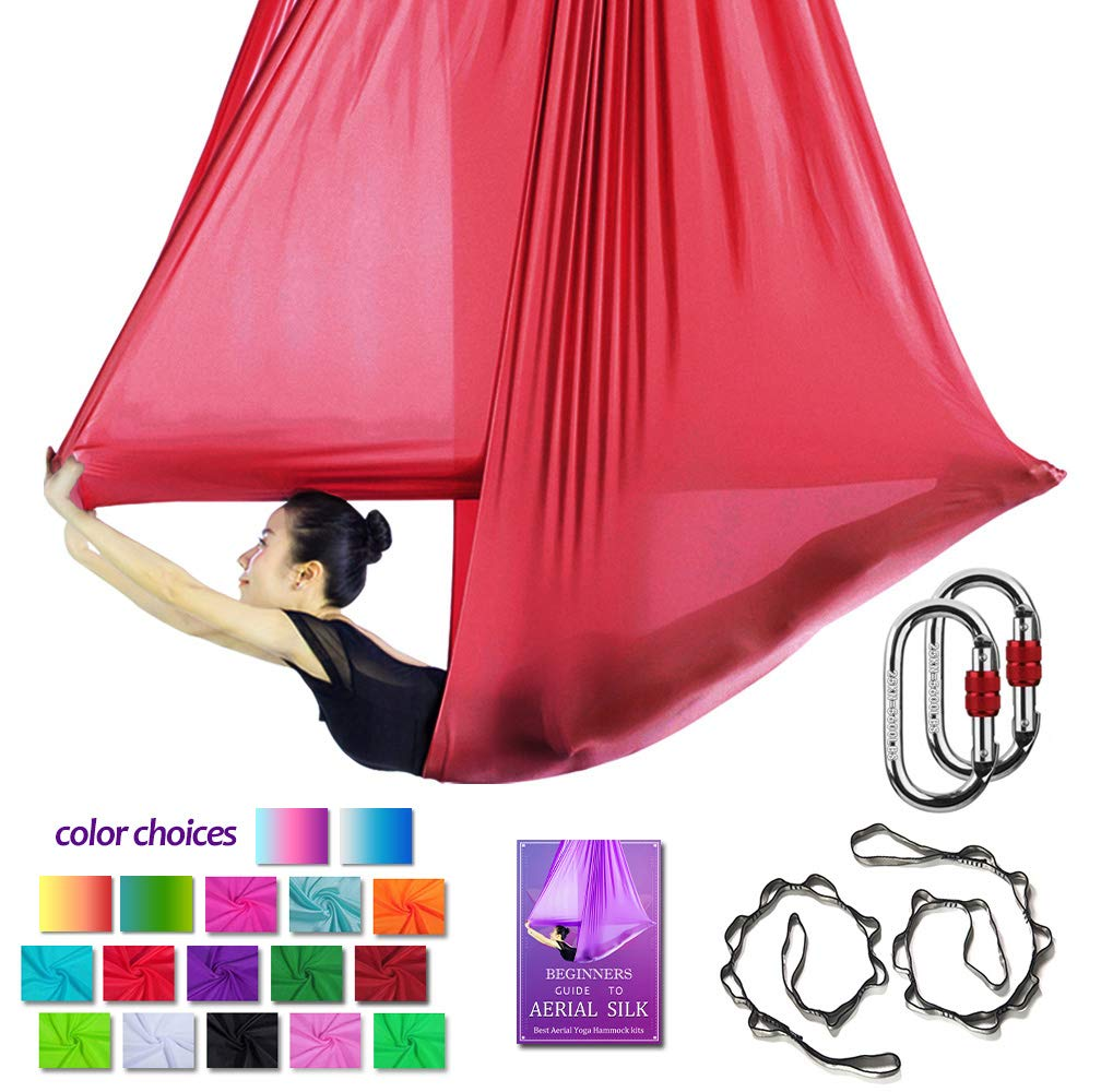 Aerial Yoga Hammock L:5M W:2.8M Aerial Pilates Silk Yoga Swing Set with 2000 Ibs Load Include Carabiner,Daisy Chain, Pose Guide (Wine Red)