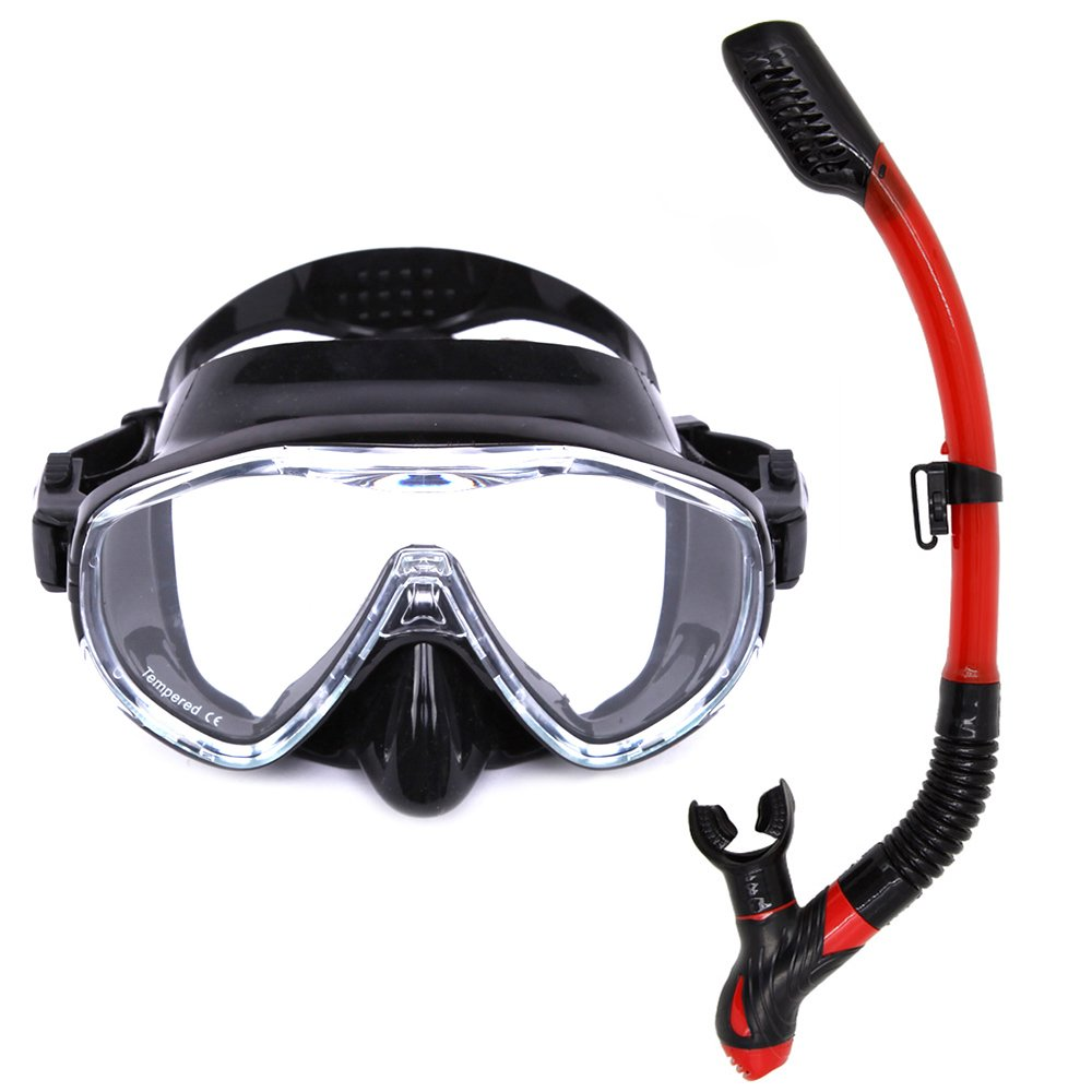 Loyalfire Snorkel Set Scuba Diving Mask for Snorkeling Diving Swimming Easy Breath Scuba Snorkeling Gear with Silicon Mouth Piece and Easy Adjustable Strap