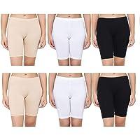 AJ FASHIONS Stretchable Spandex Soft Cotton Lycra Boy Shorts Panties - Pack of 3,6,9,12 (Skin,White and Black)