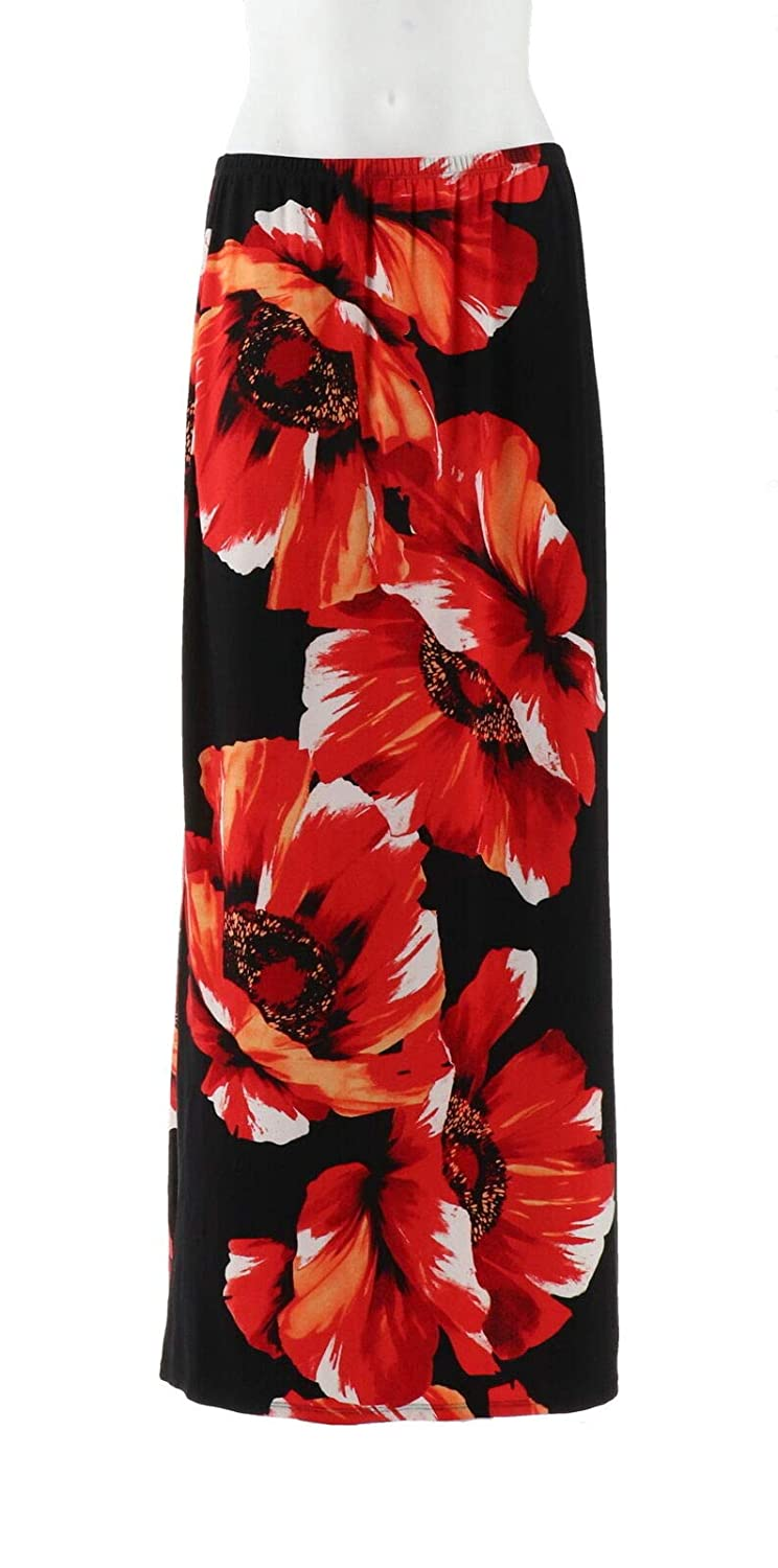2f05d0e389 Susan Graver Liquid Knit Placement Print Maxi Skirt Black Red XS New  A263012 at Amazon Women's Clothing store: