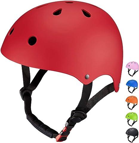 Casco Infantil Rojo Patinaje Niños Niñas Deportivos Tamaño Ajustable 48-52cm Transpirable Para Bicicleta Monopatín Skate Scooter (Rojo): Amazon.es: Deportes y aire libre