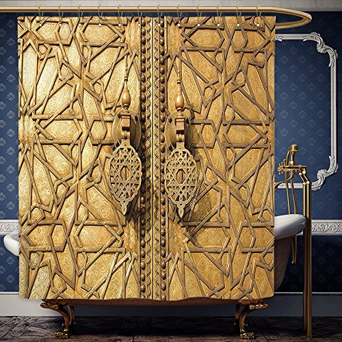 Wanranhome Custom-made shower curtain Gold Moroccan Decor Main Golden Gates Of Royal Palace In Marrakesh Morocco Travel Tourist Print Golden For Bathroom Decoration 69 x 90 inches (Lanterns Moroccan Canada)