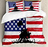 Ambesonne American Duvet Cover Set King Size by, Bless America Silhouettes of American USA Flag Background Valor Patriot Theme, Decorative 3 Piece Bedding Set with 2 Pillow Shams, Black and Red