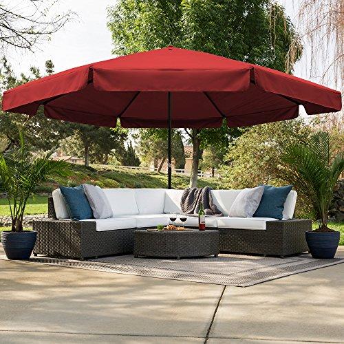 Best Choice Products 16ft Outdoor Patio Drape Canopy Market Umbrella w/Cross Base, Crank, Air Vent - Burgundy