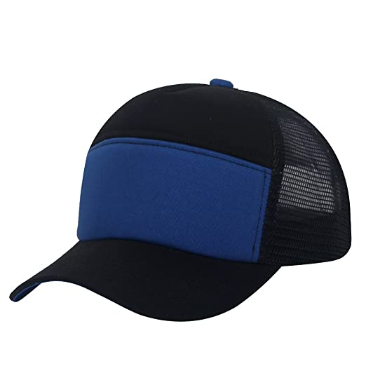 fcf6a5d0c54 Unisex Plain Baseball Trucker Cap Mesh Blank Curved Visor Hat Adjustable  (black Dark blue