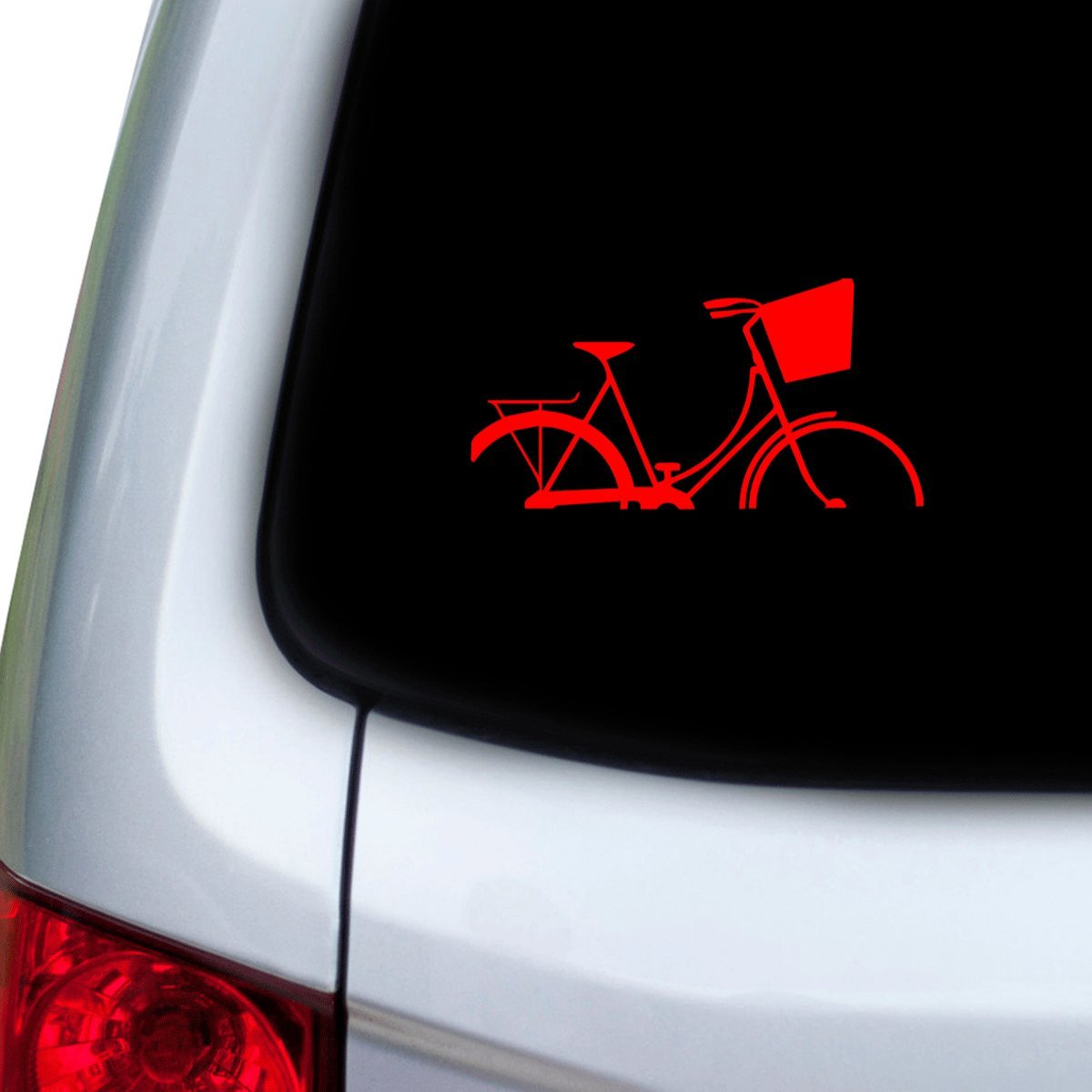 Red StickAny Car and Auto Decal Series Basket Bike Sticker for Windows Doors Hoods