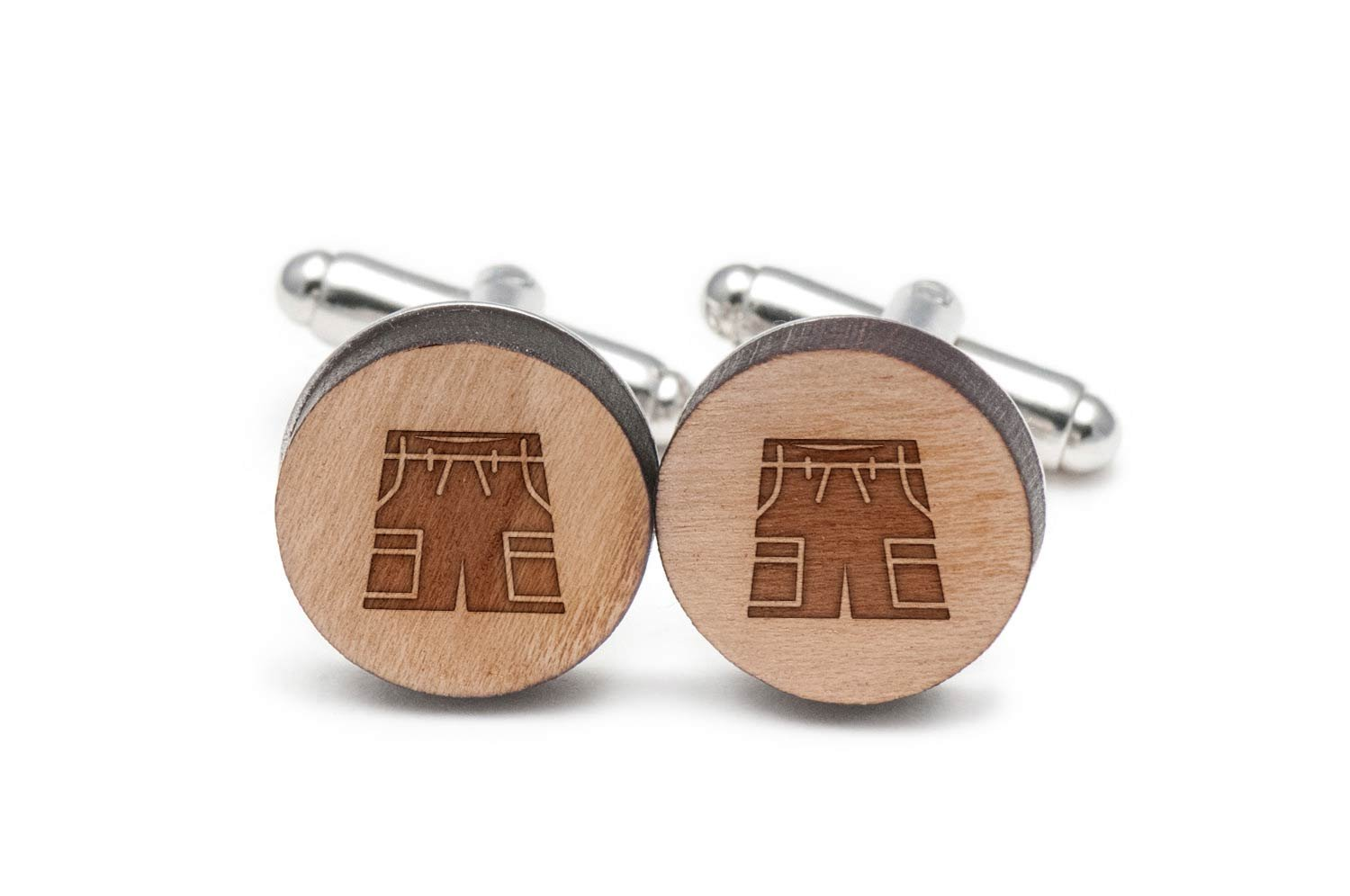 Cargo Shorts Cufflinks, Wood Cufflinks Hand Made In The Usa