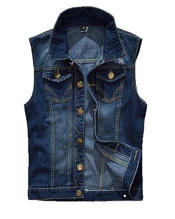 cheap for discount a3c29 906e4 Gilet Jeans Uomo Vintage Cappotto Jeans Senza Maniche Giacca Giubbotto  Smanicato