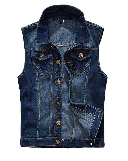 b8713d5aa1 Gilet Jeans Uomo Vintage Cappotto Jeans Senza Maniche Giacca Giubbotto  Smanicato Blu Xs