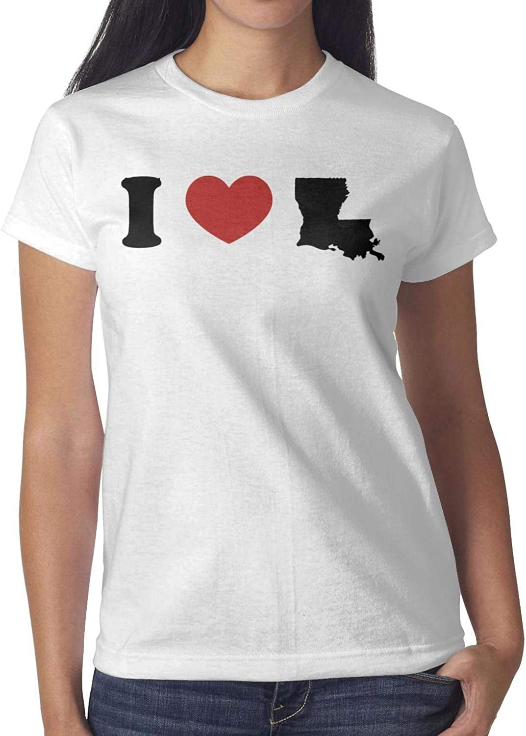 Girls Tops T Shirts t-Shirt Cable Solid Assorted I Love Louisiana Heart