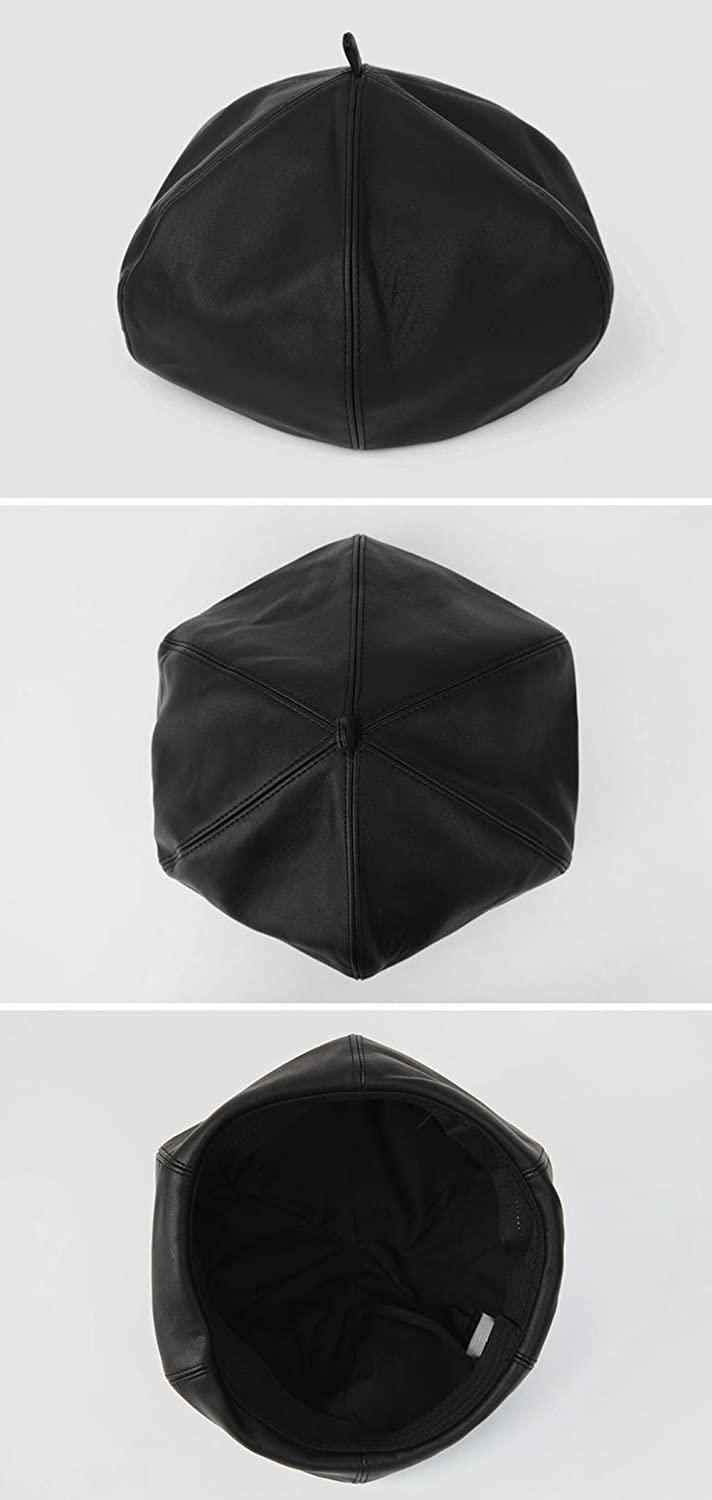 3ac5813634a Gerilea Sexy Black Warm Leather Beret Cloche Fedora Beanies Hat for Teen  Girls at Amazon Women s Clothing store