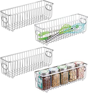 mDesign Metal Farmhouse Kitchen Pantry Food Storage Organizer Basket Bin - Wire Grid Design - for Cabinets, Cupboards, Shelves, Countertops - Holds Potatoes, Onions, Fruit - Long, 4 Pack - Chrome