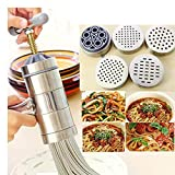 Oak-Pine Stainless Steel Pasta Noodle Maker Vegetable Fruit Juicer Press Rigatoni Gramflour Noodles Rice Noodles Machine Inspired Kitchen Tool (1 x Maker + 5 x Mold)
