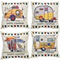 YINNAZI Happy Campers Pattern Farmhouse Decor Square Linen Cotton Throw Pillow Cover Camp Cushion Cover Pillowcase for Couch Bed Living Dorm 18 x 18 Inch Set of 4
