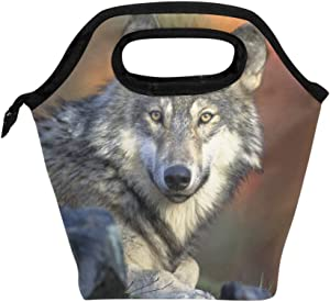 Lunch Bag Lovely Wolf Baby Grey Insulated Lunchbox Thermal Portable Handbag Food Container Cooler Reusable Outdoors Travel Work School Lunch Tote