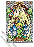 Poster + Suspension : The Legend Of Zelda Poster (91x61 cm) Link Et Kit De Fixation Transparent 1art1®