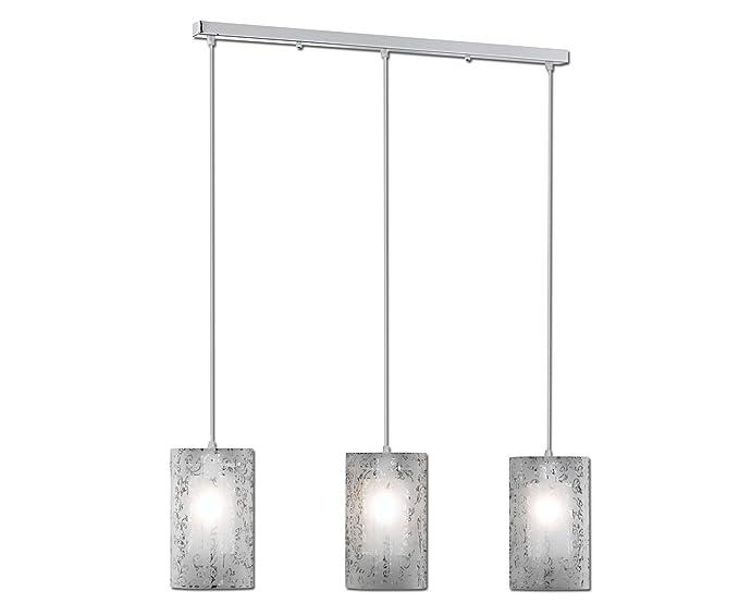 Paul Neuhaus 2160-17 Imara - Lámpara de techo (3 focos, tulipas de vidrio decorado)
