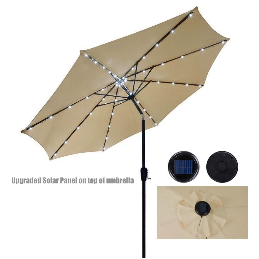 10ft Outdoor Patio Aluminium Umbrella Sunshade UV Blocking Tilt Hand-Crank W/Solar Power LED - Beige #911