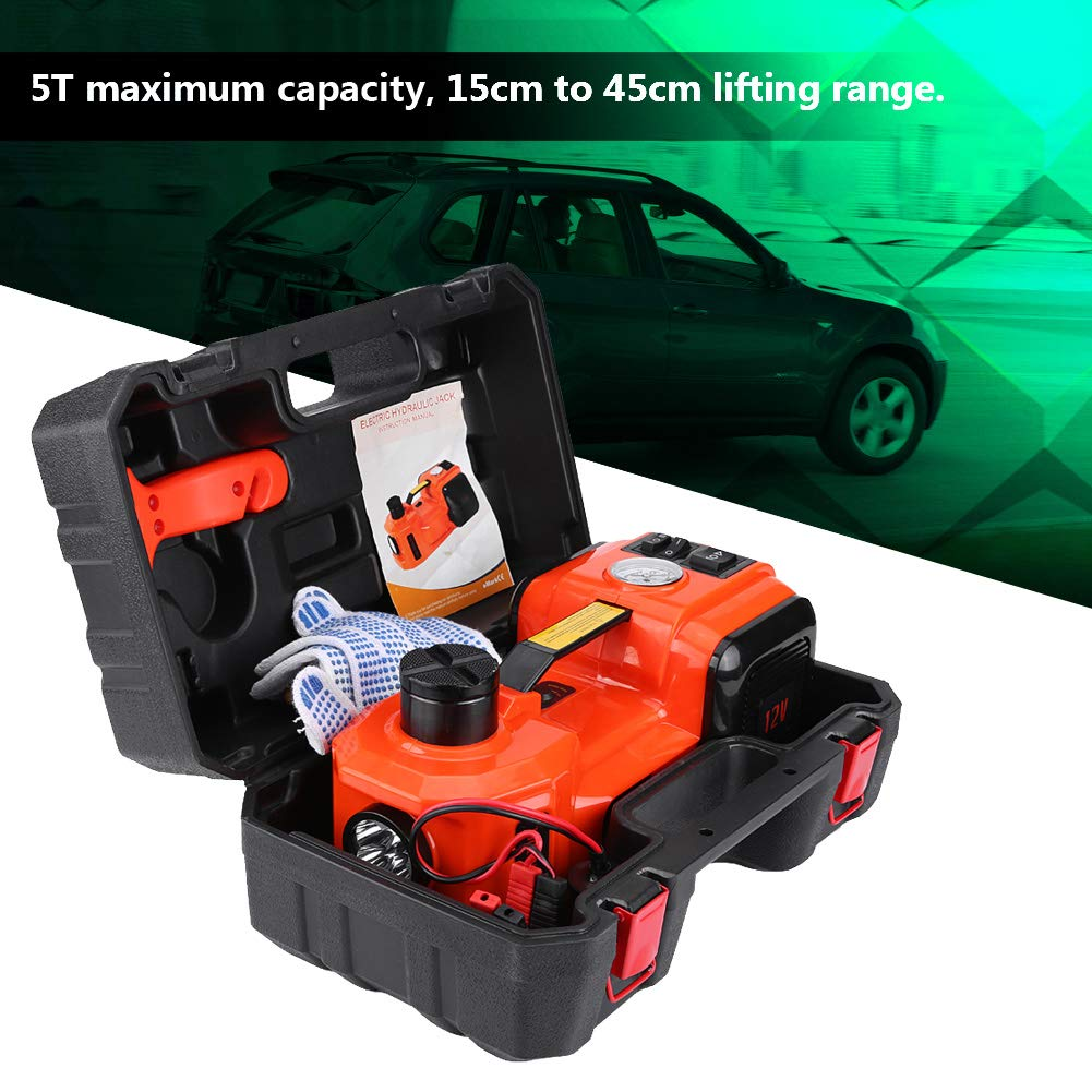 5T Electric Hydraulic Trolley Jack 12V 3-in-1 12V DC 5T Car Electric Hydraulic Floor Jack Lift Lift Lift Range 15.5cm to 45cm